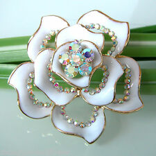 Navachi White Enamel 18K GP Crystal Flower Brooch Pin BH7790