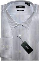 NEW HUGO BOSS WHITE w PURPLE STRIPES REGULAR FIT DRESS SHIRT 17 32/33