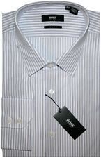 NEW HUGO BOSS WHITE w PURPLE STRIPES REGULAR FIT DRESS SHIRT 17 32/33