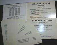 Strange World Pinball Machine Score Instruction Card Set Original Gottlieb NOS