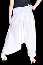 Indian White Cotton Plain Alibaba Harem Pants Unisex Yoga Trousers Baggy Hippie