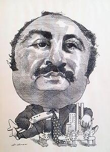 David Levine Caricature (ink drawing)