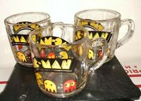 Vintage 1982 Pac-Man Glass Coffee Cup Great Graphics Hot Cocoa Mug free ship