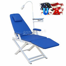 New Listingdental Lab Portable Folding Chair Amp Rechargeable Led Light Blue Hard Leather