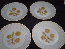 Set of 4 Vintage Milk Glass Yellow Floral Flowers Dinner  Lunch Plates Mexico