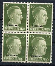 WW2 German Ukraine Overprint Hitler Head 4 Block 30rpf Green NAZI LARGER SIZE