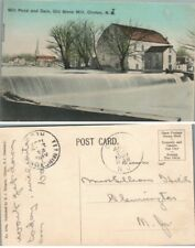 ANTIQUE 1907 POSTCARD MILL POND & DAM OLD STONE MILL CLINTON N.J.