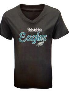 Philadelphia Eagles NFL Girls' Short Sleeve V-Neck Core T-Shirt Large (10/12)