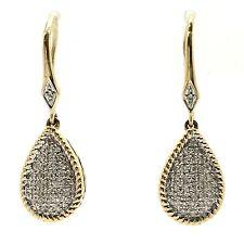 14k yellow gold pearl shape diamond drop earrings. tdwt 0.22ct