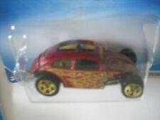 2009 HOT WHEELS VW CUSTOM VOLKSWAGEN BEETLE MAROON with FLAMES # 121 5 SPOKE