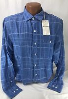 NEW Tommy Bahama Mens Blue Linen Blend Long Sleeve Button Shirt Size M $125 MSRP