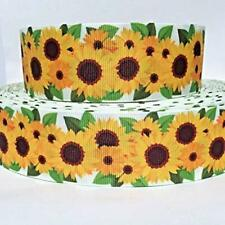 """Grosgrain Ribbon 5/8"""", 7/8"""",1.5"""", 3"""" Sunflowers - Summer - Spring D1E Printed"""