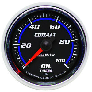 AutoMeter 6121 Cobalt Oil Pressure Gauge, 2-1/16 in., Mechanical