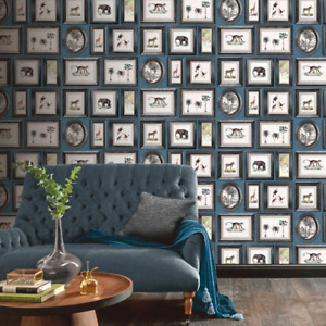 Powder Room Navy Animals in Frames Wallpaper by Arthouse 908405