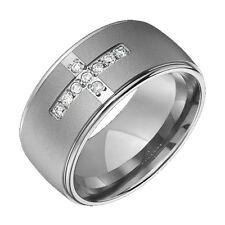 Titanium Rings Diamond Ring Cross Sandblast Center Polished Edges Wedding Bands