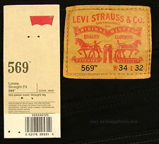 Levis 569 Jeans New Mens Loose Straight Sz 34 X 32 TAZER BLACK Levi's NWT #900