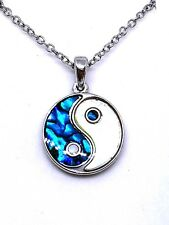 Abalone Shell Mother of Pearl Yin Yang Pendant Chain Necklace Silver Jewellery