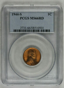 1944 S Lincoln Wheat Cent PCGS MS66RD