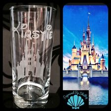 Personalised Disney Enchanted Castle Glass! Handmade Gift! FREE Name Engraved!