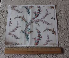 Antique French Printed Rose Sprays On Delicate Cotton Lawn Fabric c1880