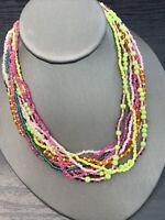 Vintage Boheniman Multi color Beaded Seed Bead Multi Strand Long Necklace 16+""