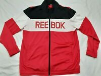 Men's Reebok Spellout Crossfit Black Red White Track Full Zip Jacket Size XL