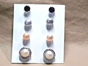 Freshwater Multi Color Pearl & mystic topaz cz set of 4 interchangeable Earrings