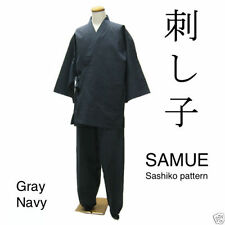 Japanese Traditional Clothes SAMUE Samu Monk Jacket Pants Gray Kimono Men L