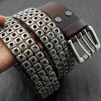 Mens Real Leather Punk Biker Studded Belt Three Hole Pin Buckle Waistband Rock