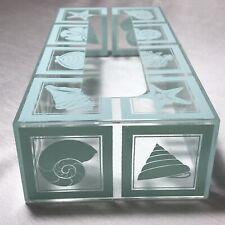 Vtg Acrylic Tissue Holder Cover Clear Seafoam Green Blue Sea Shell Motif