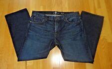 7 For All Mankind Brett Blue Med/Dark Wash Cotton Jeans in size 36 (Inseam 28)