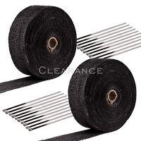 "2 Roll x 2"" 50Ft Fiberglass Exhaust Header Pipe Heat Wrap Tape Black+20 Ties Kit"