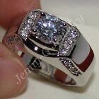 Sz 9-11 Dxluxe Handmade Stainless Steel Silver Jewelry White Sapphire Band Ring