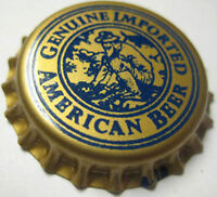 GENUINE IMPORTED AMERICAN BEER unused CROWN, Bottle Cap w/ Man Panning for GOLD