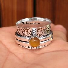 Tiger's Eye Spinner Ring 925 Sterling Silver Plated Handmade Ring Size 8  zz106