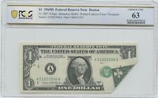 1969-D $1 Note Printed Foldover Error Over Print Pcgs 63
