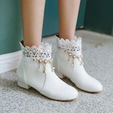 c29fc60374 Women Tassel Round Toe Lace Ankle Boots Rhinestone Flat Heel Winter Shoe  Booties