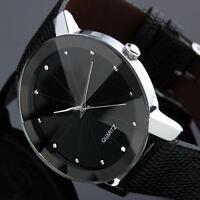 Luxus Quarz Sport Militär Edelstahl Zifferblatt Leder Band Handgelenk Uhr Männer