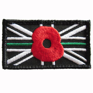 AMBULANCE THIN GREEN LINE UNION JACK PATCH BADGE Official VELCRO® & SOFT PIECE