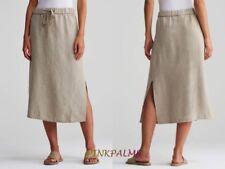 198.00 NWT Eileen Fisher Natural sz S Organic Linen F/L Straight Skirt