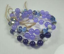 3 Piece Glass and Jade Beaded Bracelets Alexandrite/Purple/White