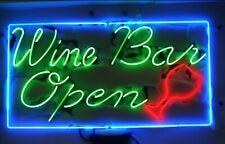 "Wine Bar Open Neon Sign 20""x16"" Light Lamp Beer Bar Pub Wall Decor Real Glass"