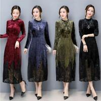 Korean Women Velvet Slim Pleated Tunic Party Dress Evening Party Cocktail M-3XL