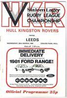 Hull Kingston Rovers v Leeds 1980/1