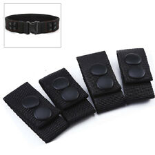 4 x Black Tactical Belt Keepers Dual Snap Closure Law Enforcement Police Duty