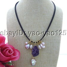 "S110306 18"" Purple Keshi Pearl Amethyst Druzy Pendant Cord Necklace"