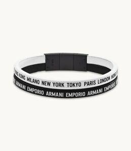 Armani Designers Leather Bracelet Two Tone Black and White