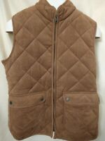 Foxcroft NYC Quilted puffy Vest lined Womens Size Medium zip 2 pockets Brown