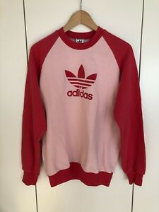 Vintage adidas Pullover D5 M Rosa Rot retro 80s Shirt Sweater