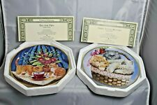 Franklin Mint Collector Plates Three Little Kittens & Tea For Two, Kathy Duncan